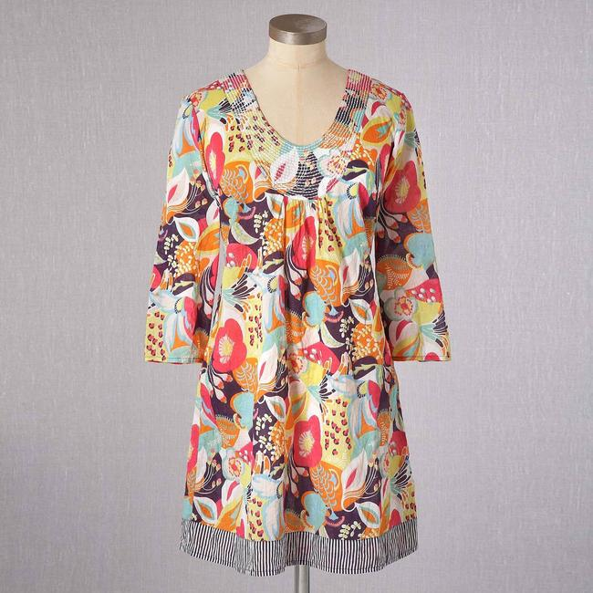 Item - Multicolor Toulon Floral Hawaiian Print Tunic Beach Summer Colorful Short Casual Dress Size 6 (S)