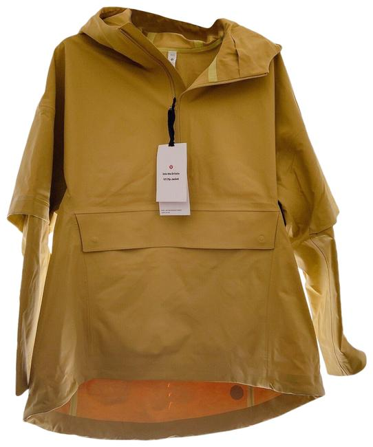 Item - Yellow XS Logo Hooded Into The Drizzle 1/2 Zip Rain Jacket Xs/S Activewear Size 4 (S)