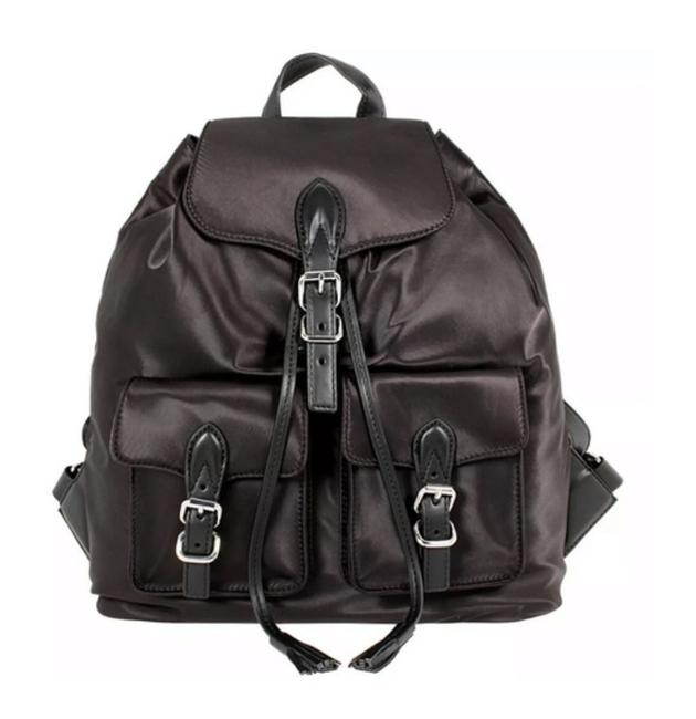 Item - Black Satin and Leather Backpack