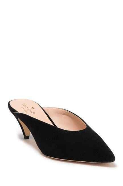 Item - Black Sherrie Suede Leather Pointed Toe Mules/Slides Size US 7.5 Regular (M, B)