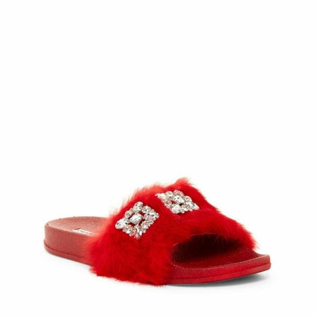 Item - Red Faux Fur Slides with Rhinestones Sandals Size US 7.5 Regular (M, B)