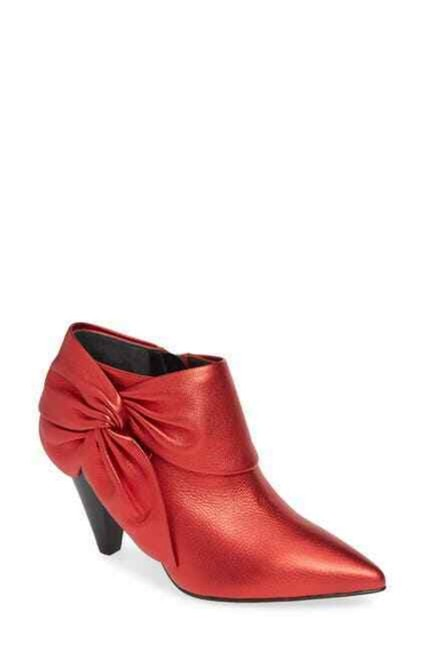 Item - Red Catrine Chrome Metallic Bow Ankle Boots/Booties Size US 7.5 Regular (M, B)