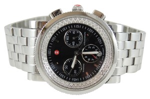 Michele Michele Stainless Steel .46tcw Black Dial Sport Sail Diamond Chronograph Watch - MW01C01D9002 - Retail $1795