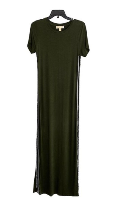 Item - Green Short Sleeve Stripe Soft & Stretchy Long Casual Maxi Dress Size 4 (S)