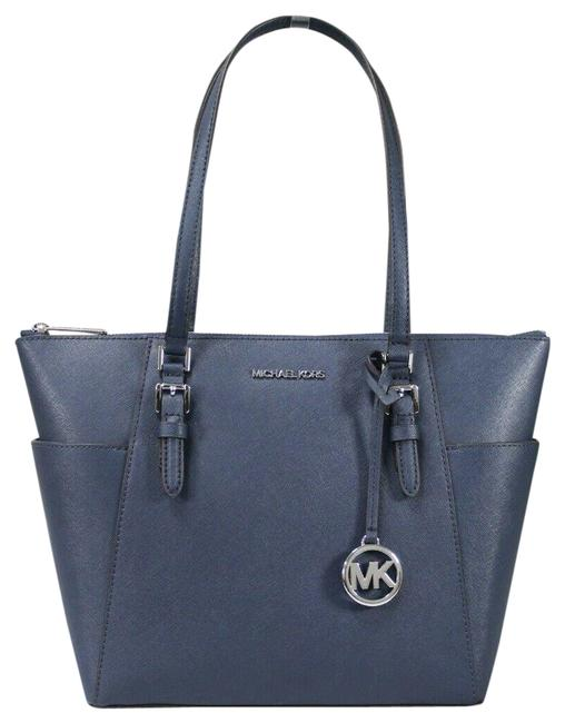 Item - Charlotte Large Top Zip Handbag Purse Navy/Silver Saffiano Leather Tote