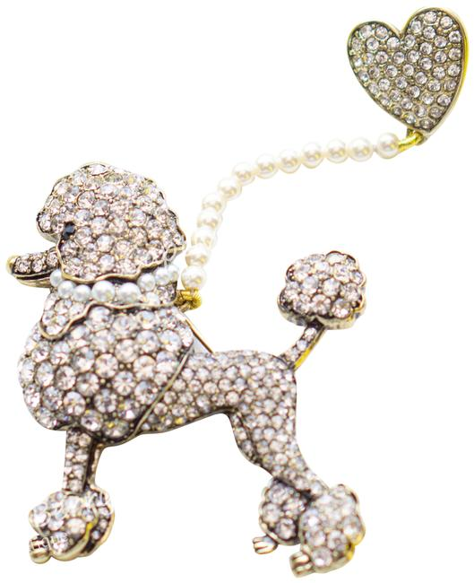Item - Gold C'est Chic Pearl and Crystal Poodle Brooch