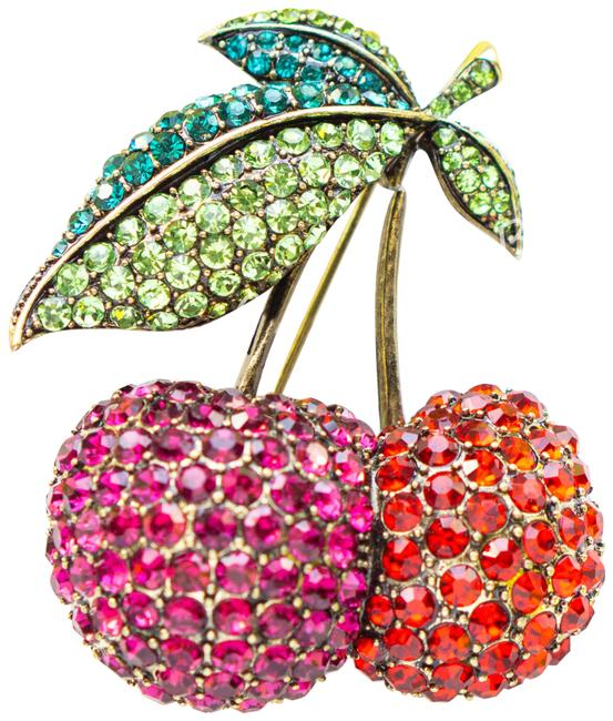 Item - Pink Cherry On The Top Crystal Brooch Pin Brooch