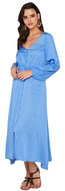 Item - Blue Later Days Front Slit Puff Sleeves Vneck Midi Mid-length Casual Maxi Dress Size 4 (S)