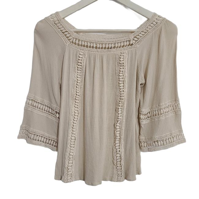 Item - Cream By Unit Womens Lace Crepe 3/4 Sleeves Small 1083 Blouse Size 4 (S)