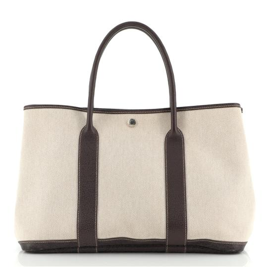 HermèsGarden Party And 36 Brown Neutral Canvas (Plain) Leather Tote