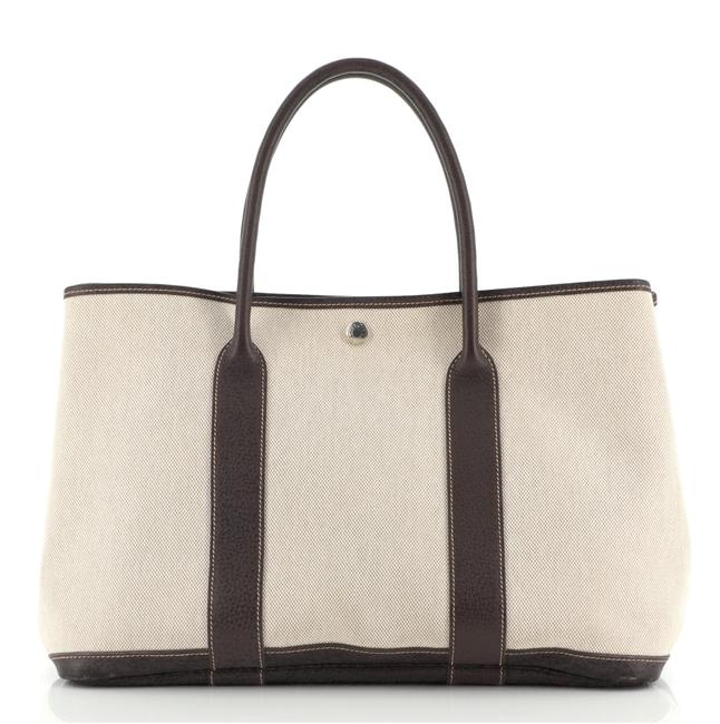 Item - Garden Party And 36 Brown Neutral Canvas (Plain) Leather Tote
