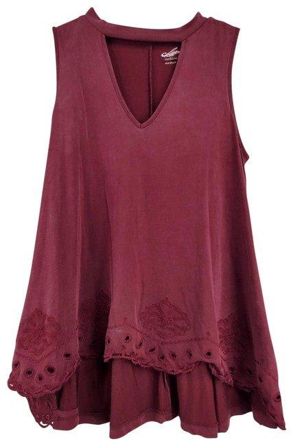 Item - Maroon A-line Embroidered Choker V-neck Blouse Size 8 (M)