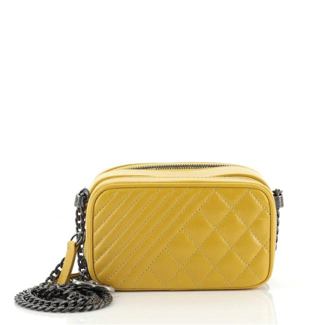 Item - Camera Boy Coco Quilted Mini Yellow Leather Cross Body Bag