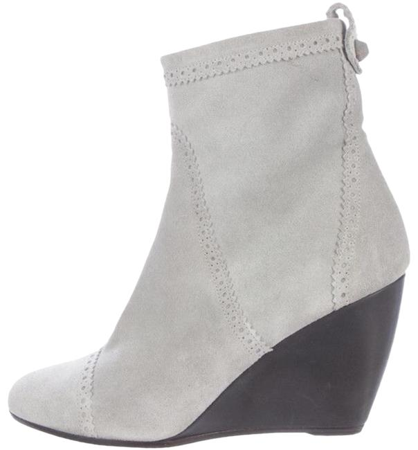 Item - Gray Brogue Suede Wedge Ankle Boots/Booties Size EU 38 (Approx. US 8) Regular (M, B)