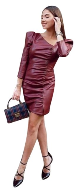 Item - Red Favorite Bloggers Faux Leather Mini In Burgundy Short Cocktail Dress Size 2 (XS)