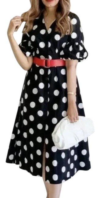Item - Black Red Balloon Sleeve Polka Dot Midi Summer with Belt Mid-length Casual Maxi Dress Size 4 (S)