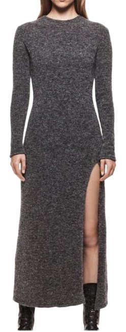 Item - Gray Woman Unit. 03 Knit Sweater with Slit Long Casual Maxi Dress Size 8 (M)
