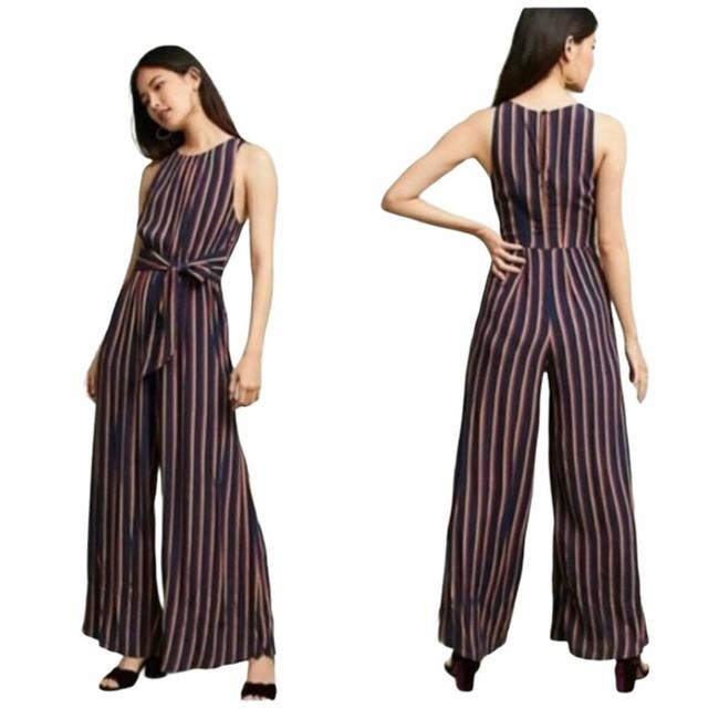 Item - Blue XS Sleeveless Tie-front Striped Size Romper/Jumpsuit