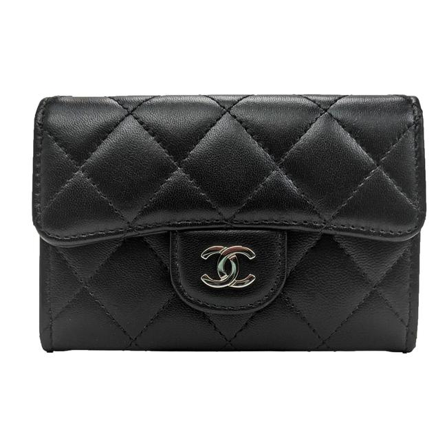 Item - Black Lambskin Quilted Flap Card Holder Coin Purse Wallet