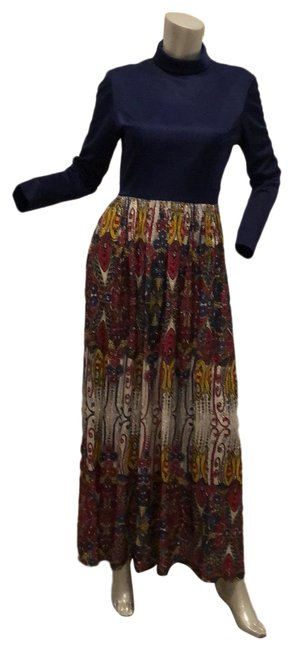 Item - Multi Color Futura Couture Of New York Gown Blue Long Formal Dress Size 4 (S)
