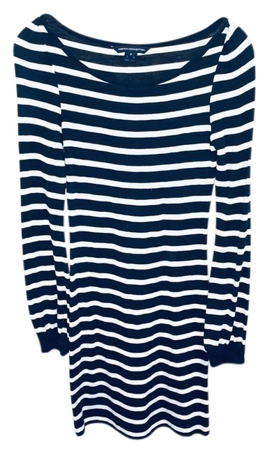 Item - Navy Long Sleeved Striped Cotton Short Casual Dress Size 0 (XS)