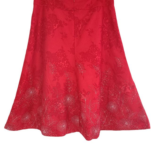 Item - Red Womens Lined Floral White A 1091 Skirt Size 10 (M, 31)