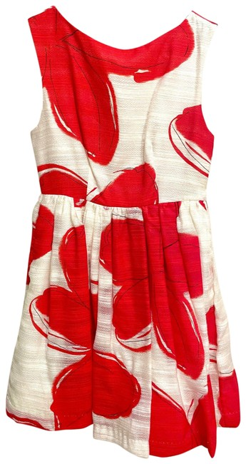 Item - White and Red Floral Mid-length Short Casual Dress Size 4 (S)