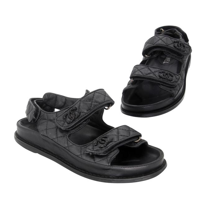 Item - Black Quilted Leather Lambskin Crystal Dad Flats 37 Sandals Size US 7 Regular (M, B)
