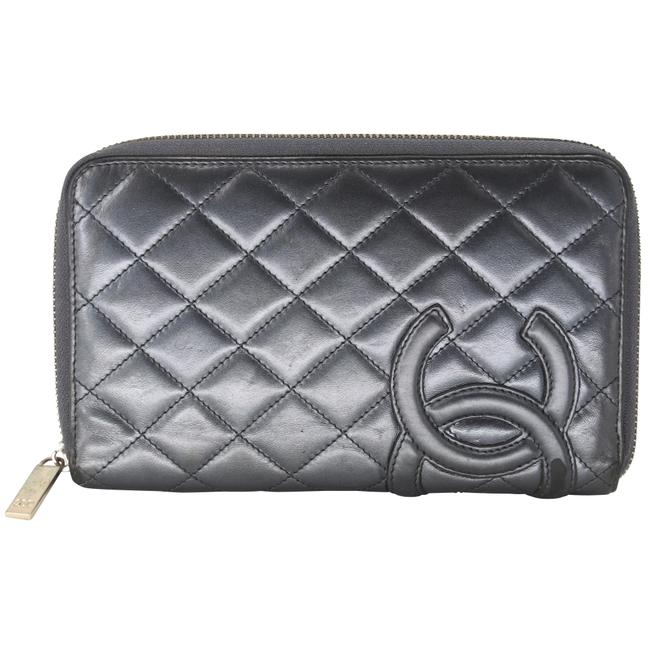 Item - Gray Zippy Organizer Cambon Cc Quilted Lambskin Leather Wallet