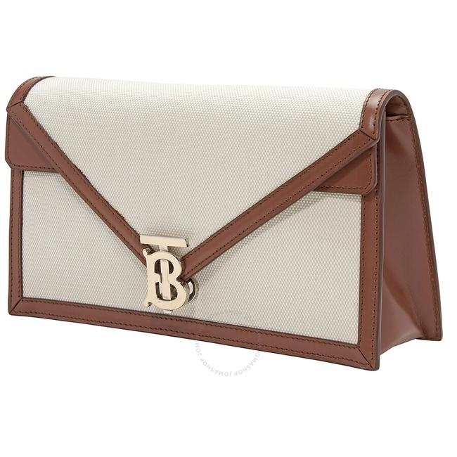 Item - Small Tb Envelope Natural Canvas and Leather Clutch