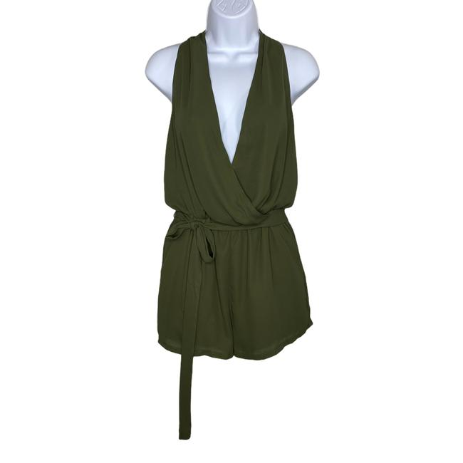 Item - Green Sleeveless Shorts with Belt- Olive- Small Romper/Jumpsuit