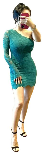 Item - Green One Shoulder Short Casual Dress Size 2 (XS)