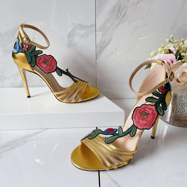Item - Gold Pink Ophelia Floral Embroidered Heel Ankle Strap Leather Sandals Size US 8 Regular (M, B)