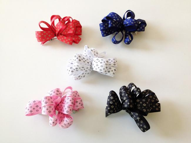 Item - Red Navy White Pink & Black Louis Vuitton-inspired Offray Ribbon Hairbow Hair Accessory