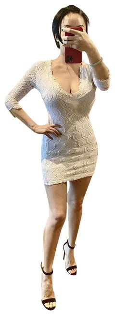 Item - White Deep V Sexy Short Casual Dress Size 2 (XS)