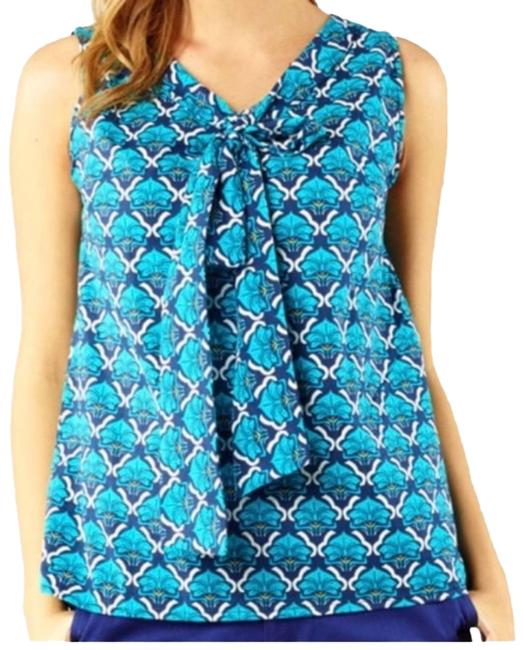 Item - Blue Donna Tie Front Sleeveless Blouse Size 2 (XS)