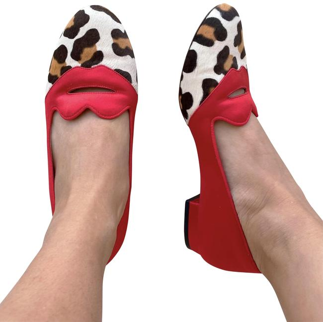 Item - Red Bisoux Satin and Leopard Print Pony Hair Flats Size EU 36.5 (Approx. US 6.5) Regular (M, B)