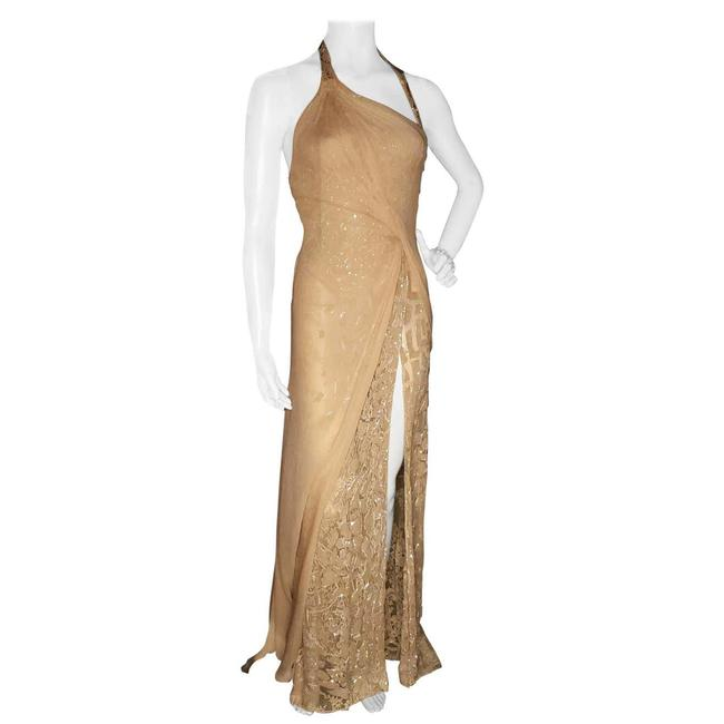 Item - Golld Nude Vintage Embellished Gown Long Night Out Dress Size 4 (S)
