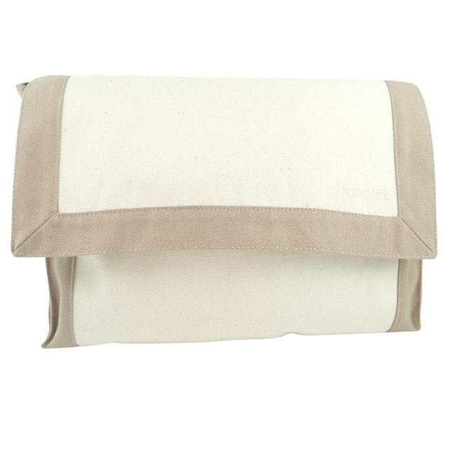 Item - Tapido Cell Second Unisex Pouch Beige / White Cotton Clutch