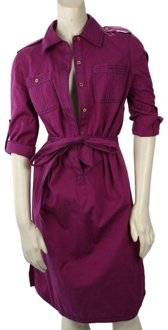 Item - Purple Cotton Collared Long Sleeve Knee Length Short Casual Dress Size 4 (S)