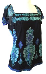 INC International Concepts Paisley Flutter Cap Sleeve Delicate Top Black, Blue, Green