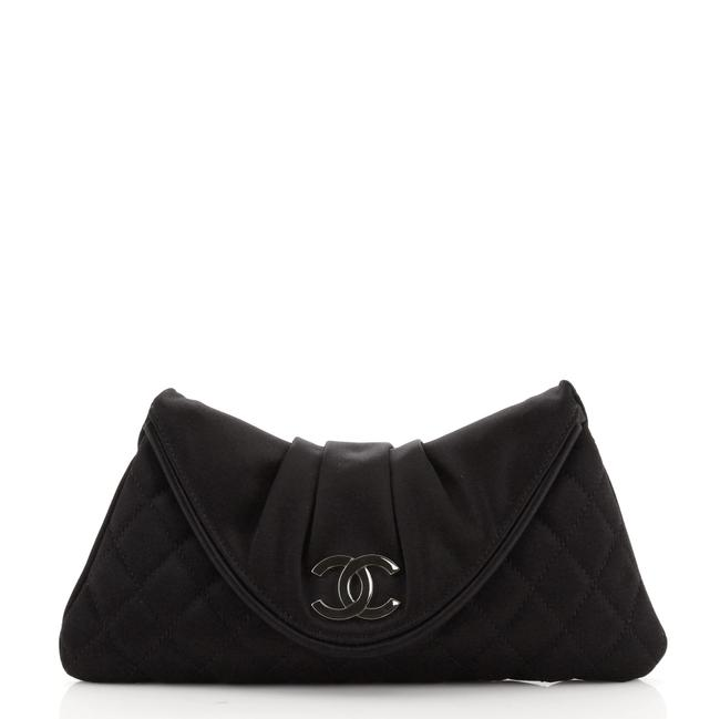 Item - Cc Half Moon Quilted Small Black Satin Clutch