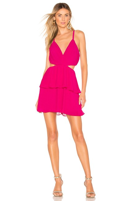 Item - Pink Pleated Tiered Cut-out Fit Flare Short Night Out Dress Size 12 (L)