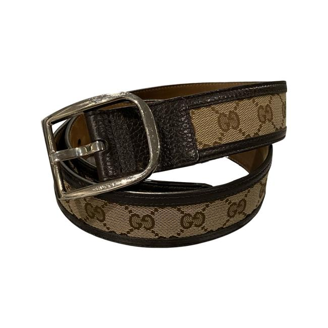Item - Brown Beige Gg Coated Canvas and Leather Signature Belt