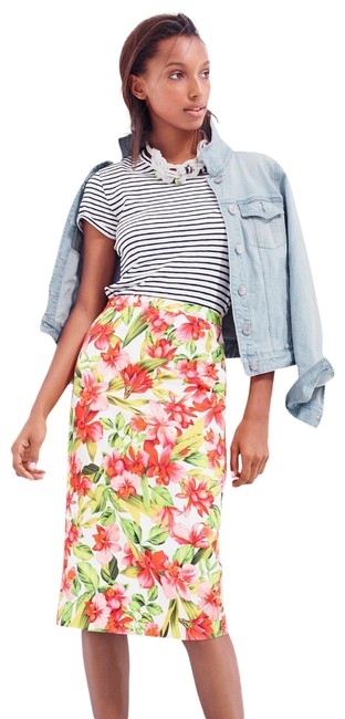 Item - Pink Orange Green Off White Collection Tropical Hibiscus Skirt Size 4 (S, 27)