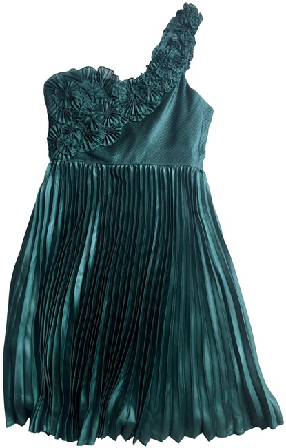 Item - Green Pleated One Shoulder Rosette Mid-length Cocktail Dress Size 6 (S)