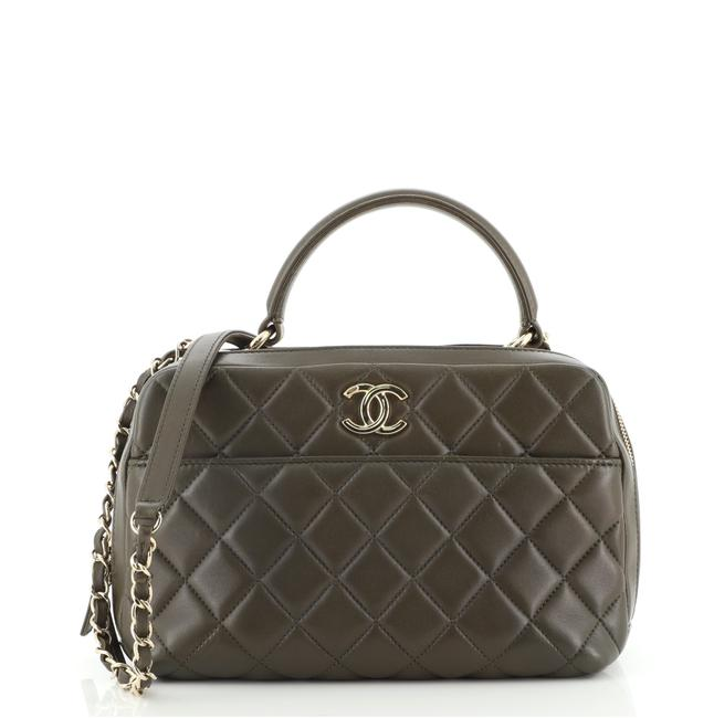 Item - Bowling Bag Trendy Cc Quilted Lambskin Medium Green Leather Satchel