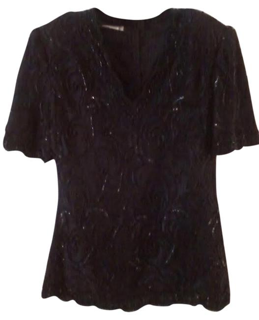 Brillante by J.A. Blouse Top Black Beaded