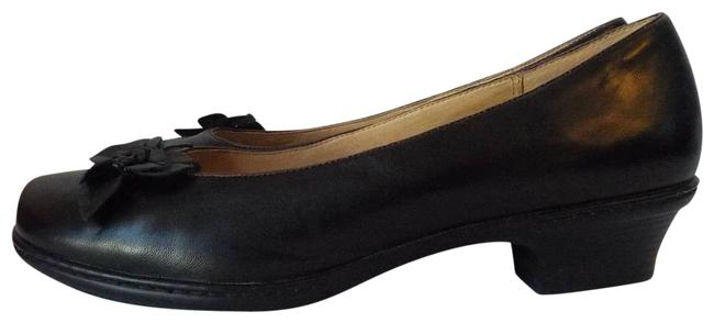 Item - Black Slip On Women 11w Floral Square Toe Leather Pumps Size US 11 Extra Wide (Ww, Ee)