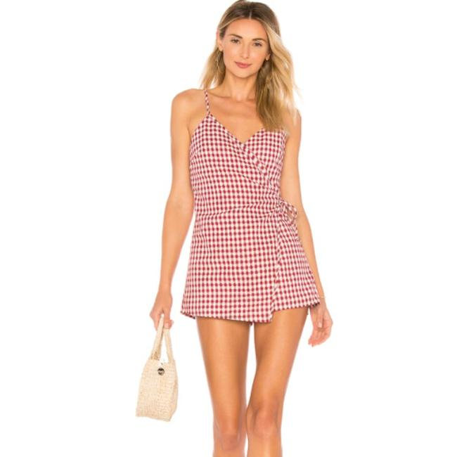 Item - Red White Womens Scotty Wrap Gingham Plaid Print Romper/Jumpsuit